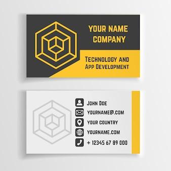 Abstrakte kreative visitenkartenvektorschablone mit linearem logo, kreativem kartenentwurf, visitenkartenfirma, identitätskarten-markenillustration