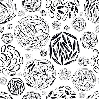 Abstrakte kreisförmige nahtlose muster textur hintergrund verschiedene getreidearten von reiskorn