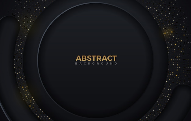 Abstrakte kreisform dunkle und goldene glitzernde punkte färben luxushintergrund-entwurfsschablone