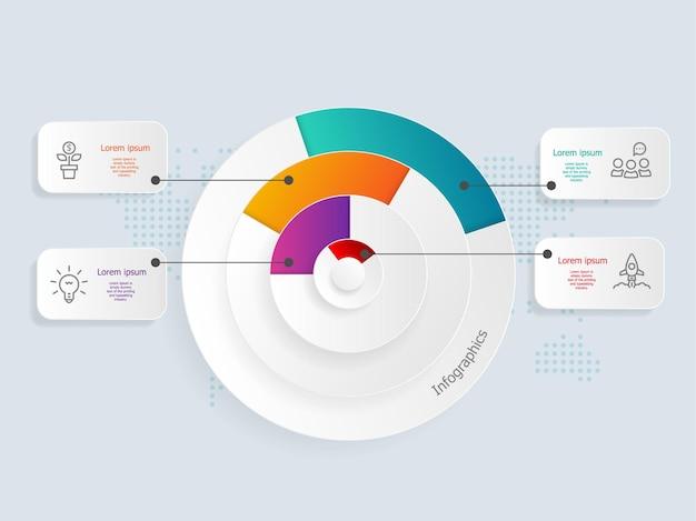 Abstrakte kreiszeitleiste infografiken 4 schritte