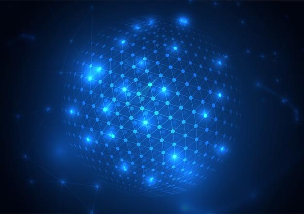 Abstrakte kugelform von glühenden kreisen und von partikeln. visualisierung der globalen netzwerkverbindung. wissenschaft und technologie hintergrund.