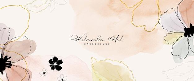 Abstrakte kunst aquarell blumen botanische und goldene linie für natur banner hintergrund. aquarell handgemaltes kunstdesign geeignet für den einsatz als header, web, wanddekoration. pinsel in datei enthalten.