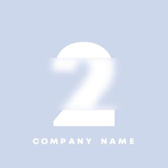 Abstrakte kunst nummeriert 2 logo. glasmorphismus. unscharfe schriftart, typografie-design, buchstaben und zahlen des alphabets. defokussieren sie schriftdesign, fokussiertes und defokussiertes stilalphabet. vektor-illustration