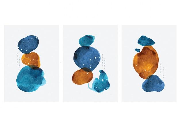 Abstrakte kunstillustration mit aquarellfleckelementvektor. malpinsel textur dekoration mit kunst acryl design. zeitgenössische kunst.