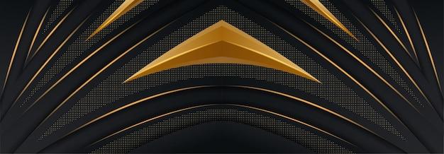Abstrakte kurve, die auf schwarzem hintergrund mit goldenen linien überlappt