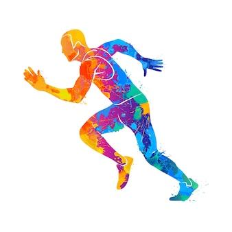 Abstrakte läufer auf kurzen strecken sprinten vor spritzern von aquarellen. illustration von farben.