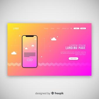 Abstrakte landing page mit technologiegeräten