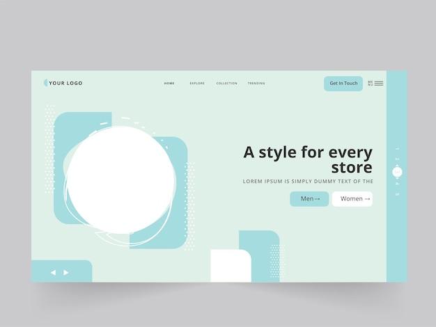 Abstrakte landing page oder web-template-design mit kopienraum für jeden store stilvoll.