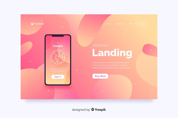 Abstrakte landing-pages mit technologiegeräten