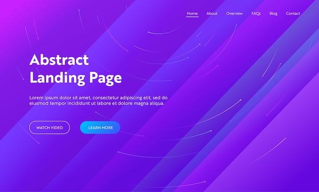 Abstrakte landingpage-vorlage für minimale geometrische linienabdeckung. blauer futuristischer heller hintergrund für modernes dynamisches layoutkonzept für website oder webseite. flache karikatur-vektor-illustration