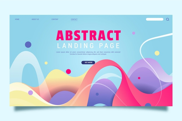 Abstrakte landingpage-vorlage mit dynamischen formen