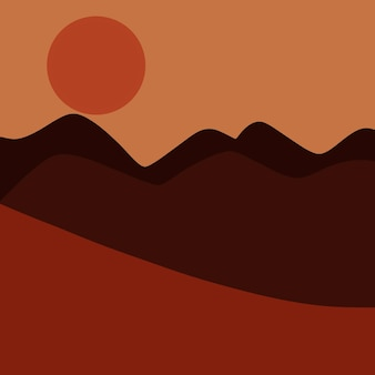 Abstrakte landschaft mit blick auf die wüste und den sonnenuntergang