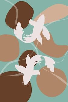 Abstrakte landschaft mit fischen koi-karpfen silhouette abstraktes poster lager vektor innenarchitektur