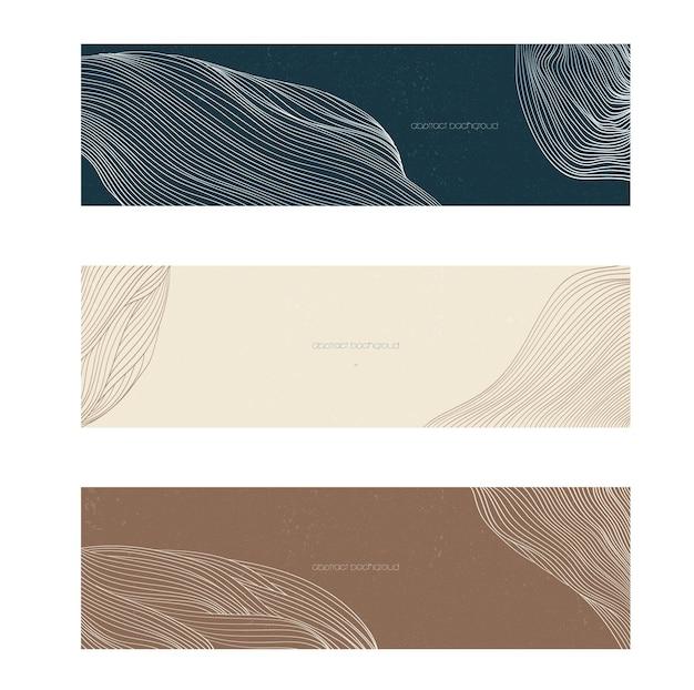 Abstrakte landschaftsfahne mit linienmustervektor. kurvenhintergrund mit flüssiger form.
