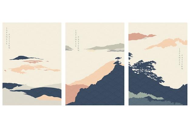 Abstrakte landschaftsillustration mit bergwald. natürliches panorama mit japanischer wellenillustration.