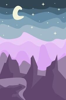 Abstrakte landschaftsszene minimalistische helle bergwüste im boho-stil für t-shirt-druckeinladung
