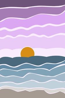 Abstrakte landschaftsszene minimalistische helle boho-stilwüste für poster einladungskartenbanner