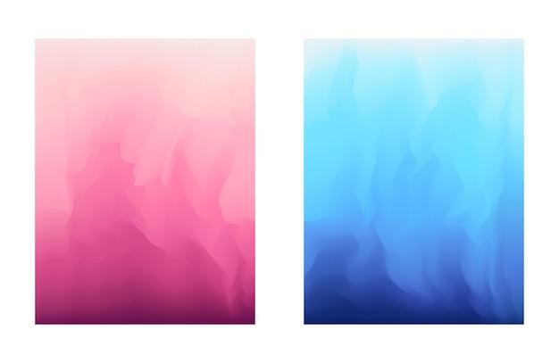 Abstrakte, lebendige blaue und rosa farbverlaufshintergründe für modeflyer, broschürendesign