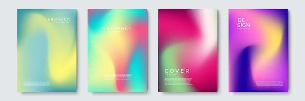 Abstrakte, lebendige, geometrische coverdesigns mit farbverlauf, trendige broschürenvorlagen, farbenfrohe futuristische poster. vektor-illustration.