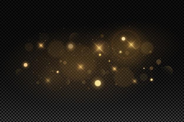 Abstrakte lichter bokeh auf einem dunklen transparenten hintergrund.