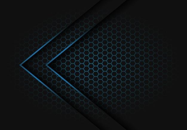 Abstrakte lichtrichtung des blauen pfeiles licht auf moderne futuristische hintergrundvektorillustration des hexagonmaschenmusterdesigns.