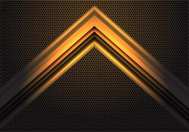 Abstrakte lichtrichtung des gelben pfeillichtes auf moderne futuristische technologiehintergrund-vektorillustration des kreismaschenmusterdesigns.