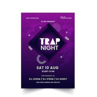 Abstrakte lila farbe trap night poster design mit details zum veranstaltungsort.