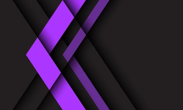 Abstrakte lila pfeilrichtung geometrisch auf dunkelgrau mit futuristischem hintergrund des leerraumdesigns