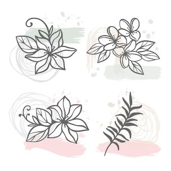 Abstrakte linie blumen blumenskizze mit hortensie jasmin sakura blumen und zweig
