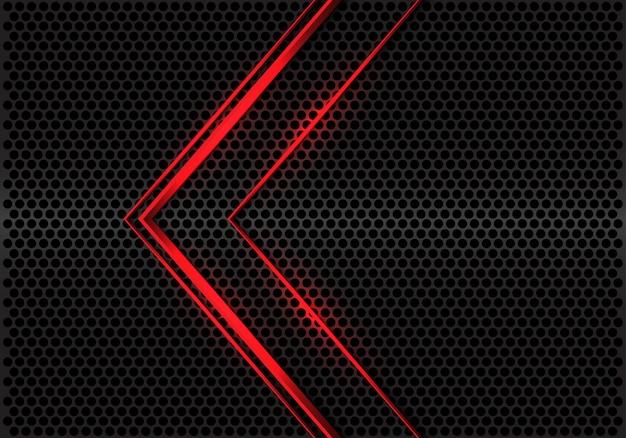 Abstrakte linie pfeilrichtung des roten lichtes auf modernen futuristischen hintergrundvektor des grauen metallischen kreismaschen-designs.