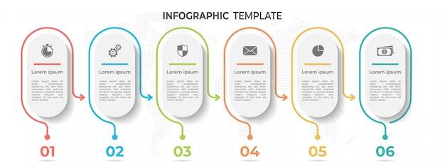 Abstrakte linie timeline infographik vorlage 6 optionen.