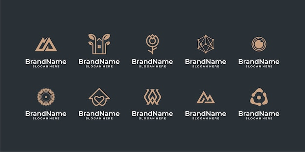 Abstrakte logo design bundle inspirationen