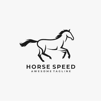 Abstrakte logo-entwurfsillustration der pferdegeschwindigkeit