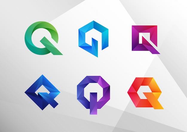 Abstrakte logo-sammlung mit farbverlauf q