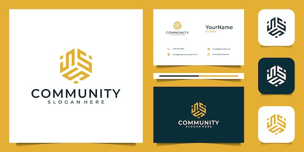 Abstrakte logo- und visitenkartensatzinspiration