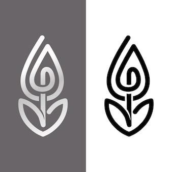 Abstrakte logo-vorlage in zwei versionen eingestellt