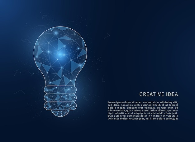 Abstrakte low-poly-glühbirne kreatives ideenkonzept polygonale drahtmodell-glühbirne