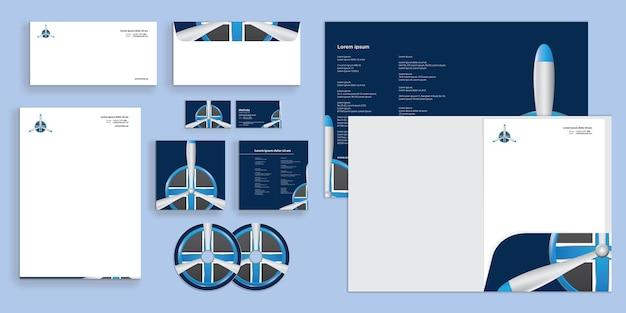 Abstrakte luftfahrt-logo-requisite moderne corporate business-identität stationär
