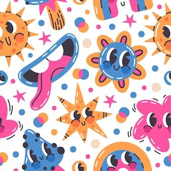 Abstrakte lustige comic-emoji-doodle-zeichen vektor nahtlose muster