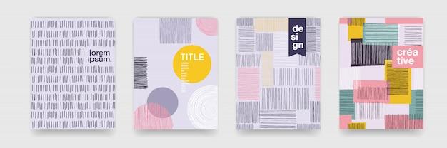 Abstrakte lustige farbmusterkarikaturtextur für geometrischen gekritzelhintergrund. trendform für das design der broschürenabdeckungsvorlage
