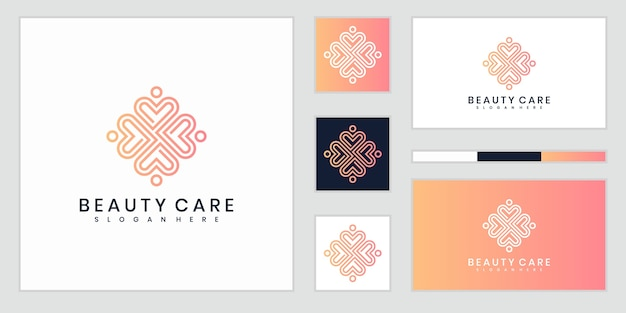 Abstrakte luxusblumen, die schönheit, yoga und spa inspirieren. logo