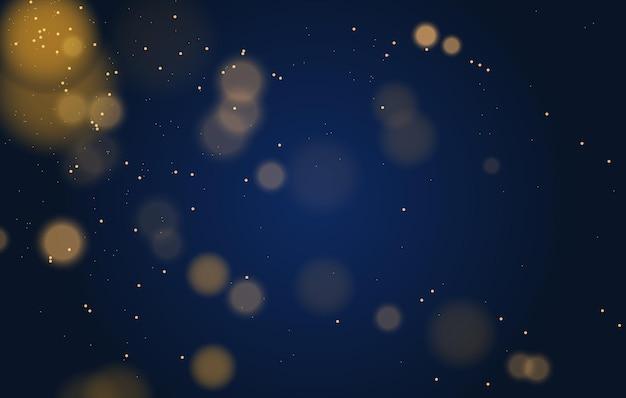 Abstrakte magische bokeh-lichter bewirken hintergrundschwarzgoldglitter für weihnachten