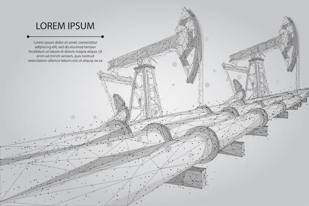 Abstrakte maische linie und punkt ölpipeline low poly geschäftskonzept. polygonale benzinproduktion. transport der erdölindustrie