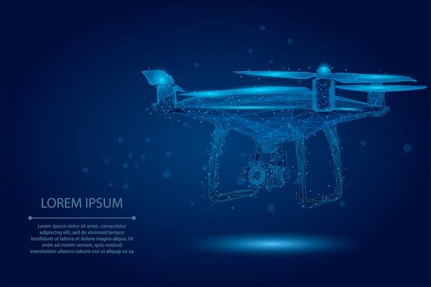Abstrakte maische linie und punkt quadrocopter. polygonale, niedrige 3d-flugdrohne aus poly