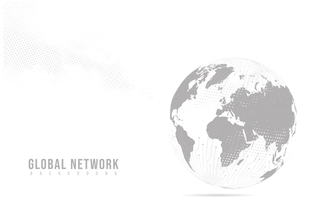 Abstrakte maische linien- und punktskalen mit erdkugel. drahtrahmen 3d-netz polygonale netzwerklinie, designkugel, punkt und struktur.