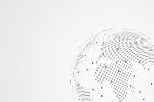 Abstrakte maische linien- und punktskalen mit global. drahtrahmen 3d-netz polygonale netzwerklinie, designkugel, punkt und struktur.