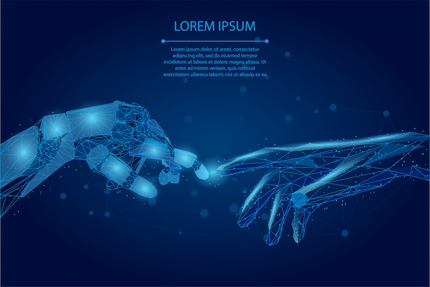 Abstrakte maischelinie und punkt menschliche und roboterhände aus niedrigem poly-drahtgitter, die sich mit den fingern berühren.