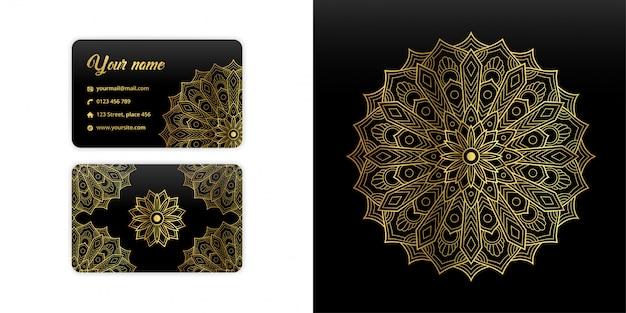 Abstrakte mandala-visitenkarte. luxusarabeskenhintergrund. blumenmuster motiv in goldfarbe gesetzt