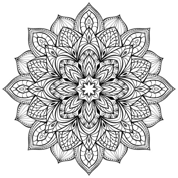 Abstrakte mandala-vorlage für malbuchseite