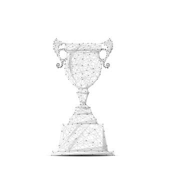 Abstrakte mash-linie und point-champion-cup auf dem hintergrund mit einer aufschrift business illustration